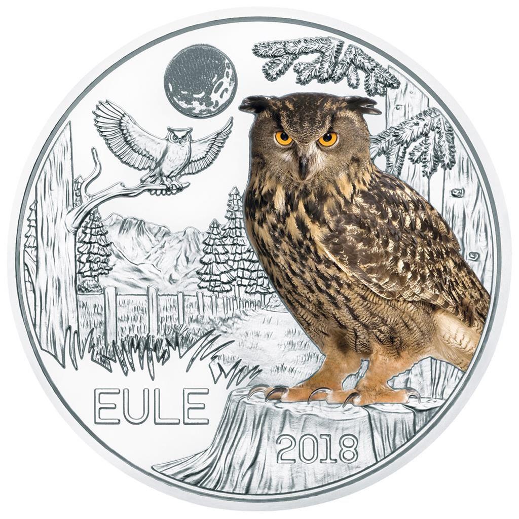 Die Achte 3 Euro Münze Aus Dieser Serie Zeigt Eine Eule In Farbe Bei
