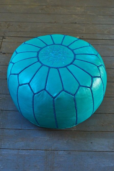 Turquoise Leather Moroccan Pouf Earthbound Trading Co Classy Turquoise Moroccan Pouf