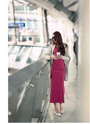 autumn knitted long-sleeve dress full dress slim hip slim basic autumn and winter one-piece long dress elegant design