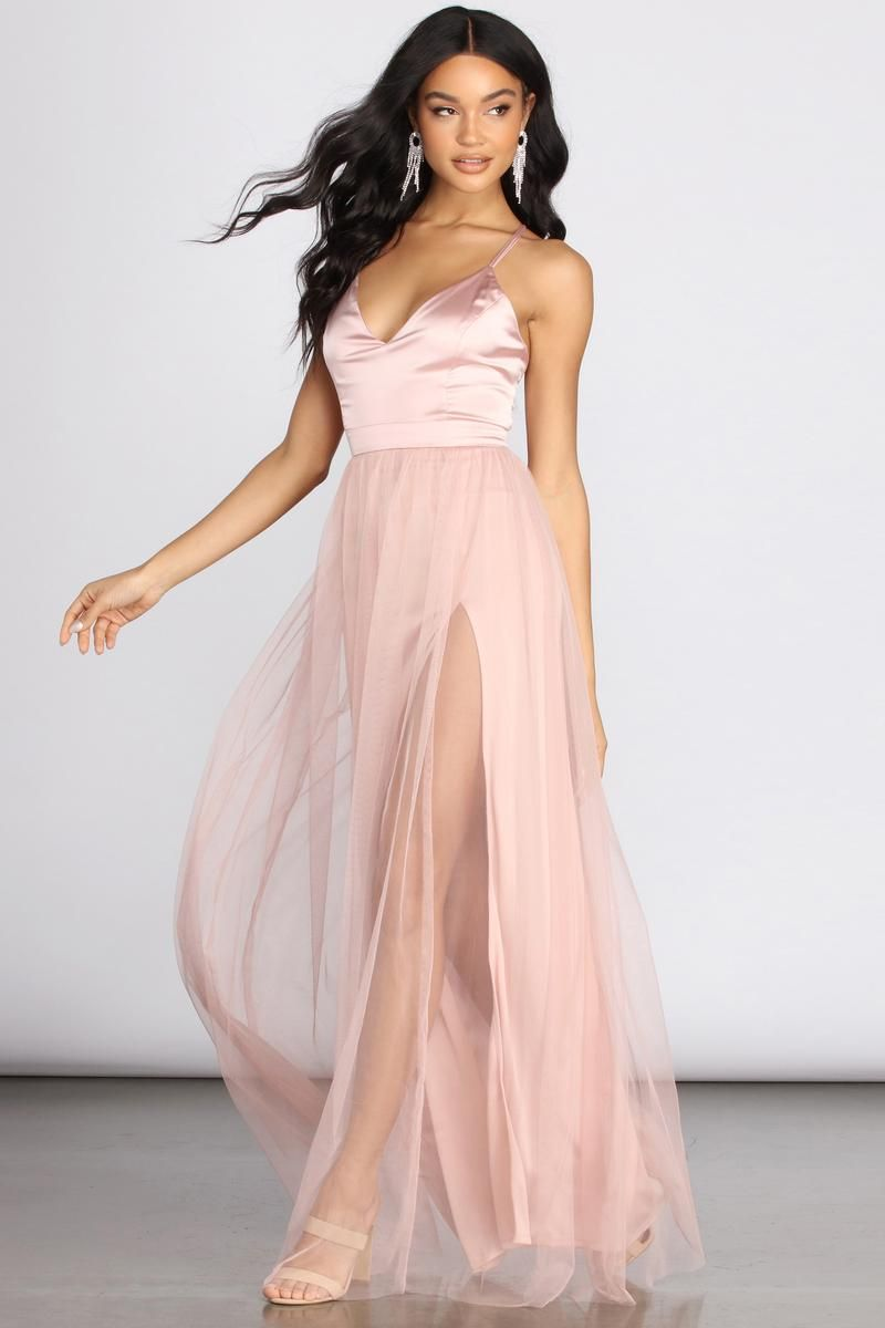 Haisley Formal Tulle And Satin Dress In 2021 Satin Dresses Cute Prom Dresses Dresses [ 1200 x 800 Pixel ]