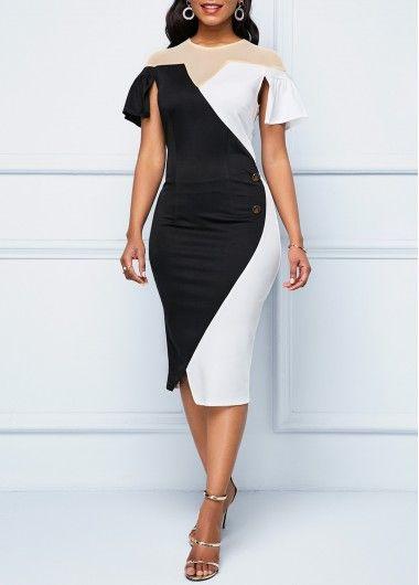 15c38dc03ad Bodycon Dresses Color Block Cape Sleeve Button Detail Sheath Dress ...