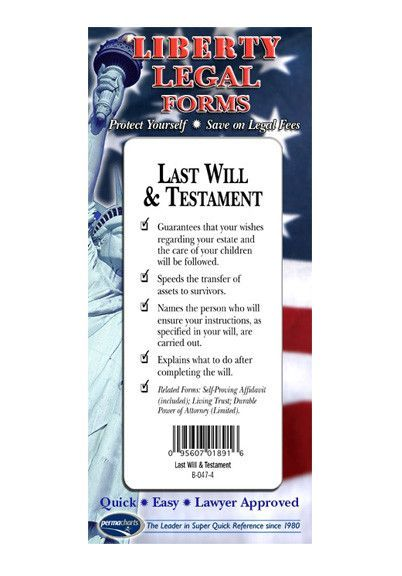 Last Will Testament Legal Forms Kit Usa By Permacharts Legal Forms Being A Landlord Last Will And Testament