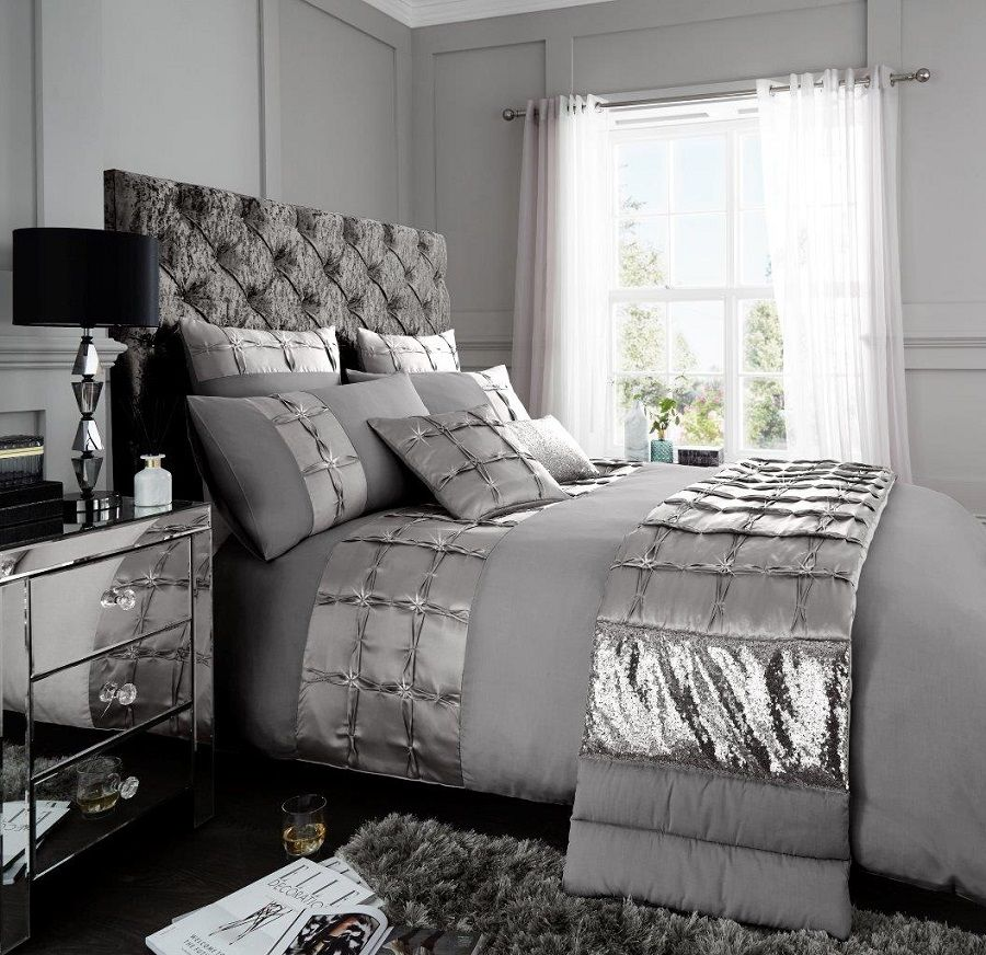 Signature Adriana Grey Silver Duvet Quilt Cover Bedding Set Linen And Bedding Duvet Cover Sets Duvet Sets Bed Linens Luxury