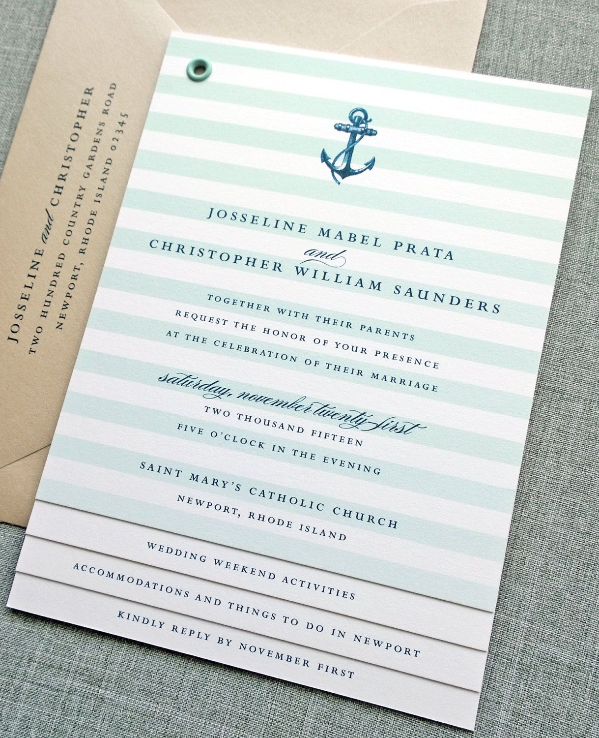 Josseline Booklet Nautical Wedding Invitation by CricketPrinting ...