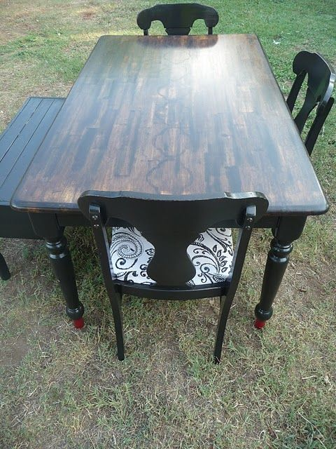 Kitchen table. Might stain my table with the black wash on top ...