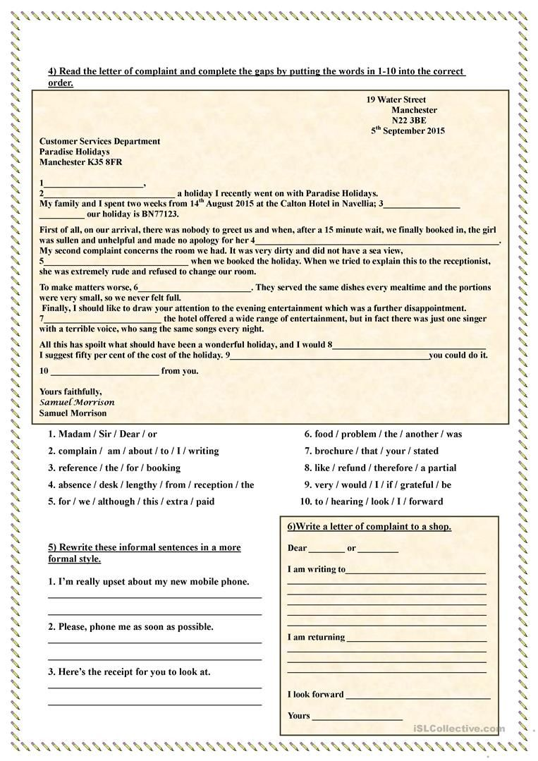 How to write a Letter of Complaint worksheet Free ESL