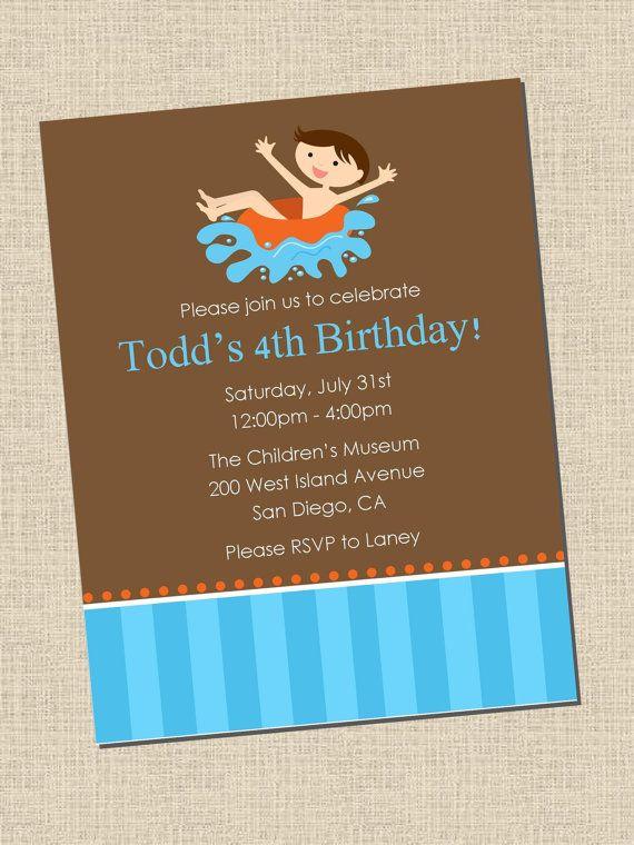 Pool Party Birthday Invitation Jabeu0027s 3rd birthday Pinterest - birthday invitation pool party