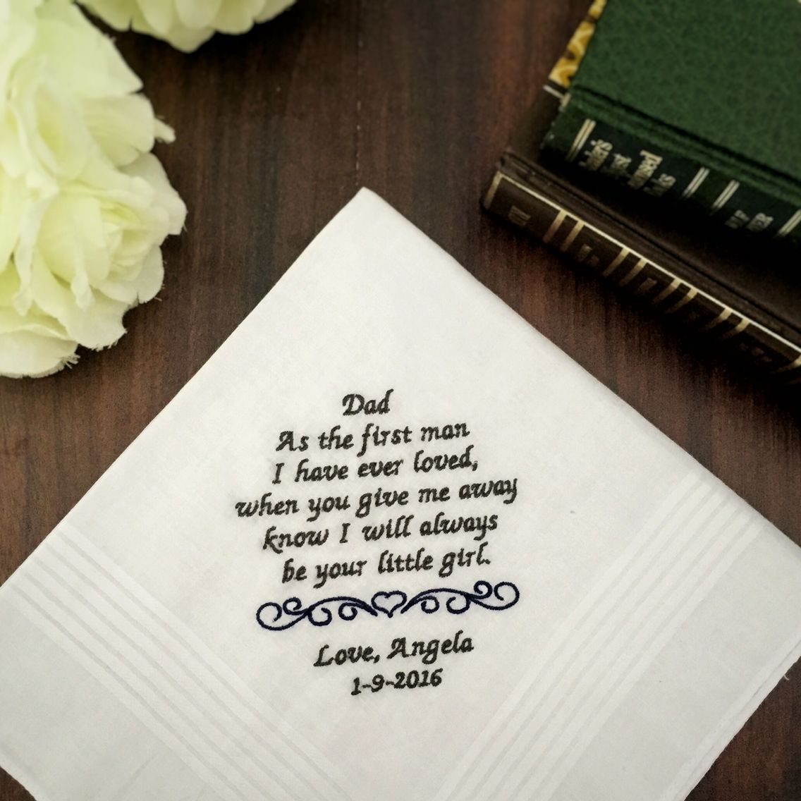 Custom Embroidered Handkerchief For Father Of The Bride Wedding Gift Bridal Bling