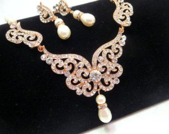 Rose gold Bridal jewelry set Rose gold Bridal pearl necklace Rose