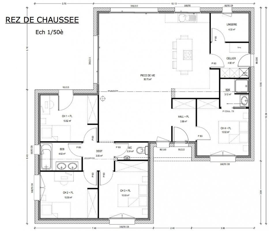 Plan maison 4 chambres 130m2 for Plan de maison contemporaine en l