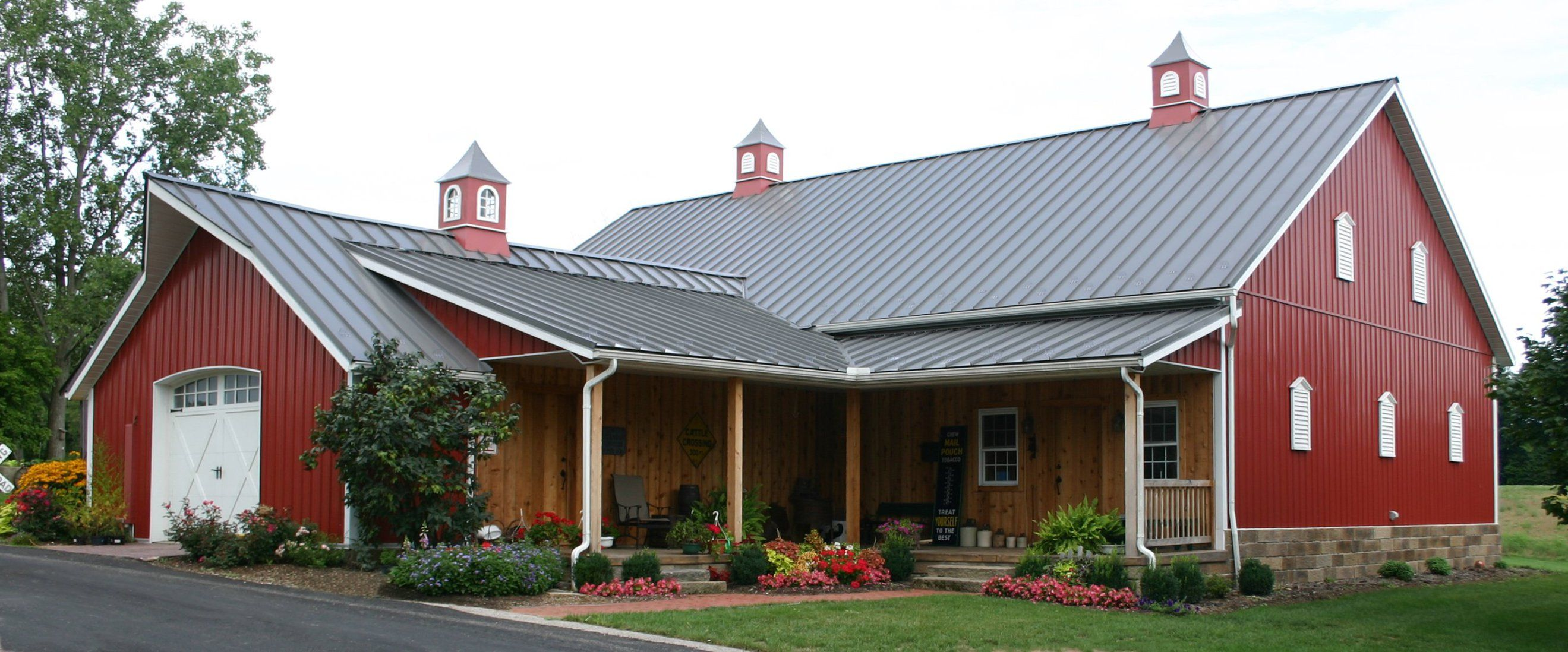 Red Barn House Post Frame Print WITH LOFT POST FRAME IDEAS
