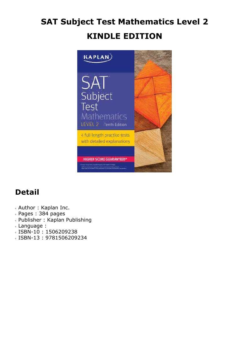 Pdf Sat Subject Test Mathematics Level 2 Mathematics Kaplan