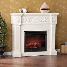 Wellington Ivory Mantle 1500w Remote Electric Firebox Heater Portable Fireplace