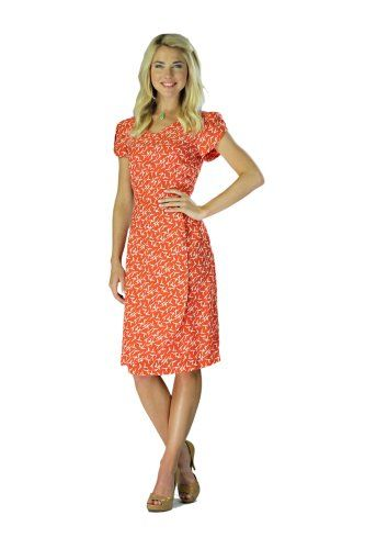 Mikarose Knee-Length Short Sleeve Summer Dress - Lily Coral, Size ...