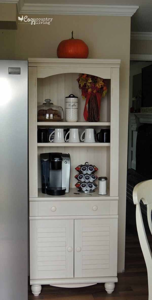 Cute And Handy To Have The Coffee Bar Beside The Fridge