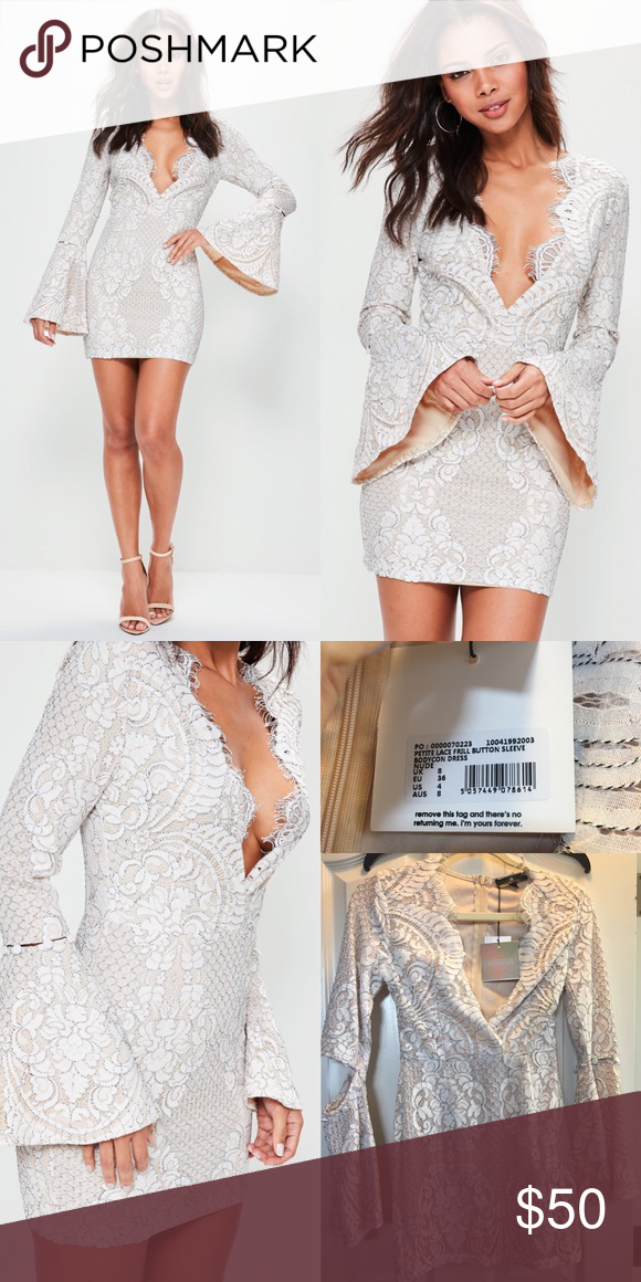 e152eac88570 Missguided nude lace frill sleeve bodycon dress Beautiful white and ...
