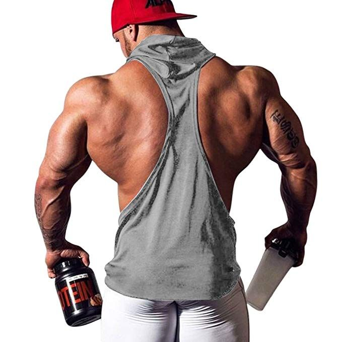 f3cbdc0b348 Amazon.com  JoofEric Men s Bodybuilding Athletic Sleeveless Hoodies Workout  Muscle Gym Tank Tops