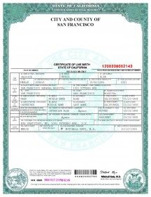 city of san francisco birth certificate