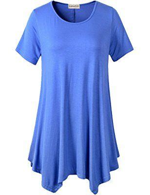 832c1b35b00 Lanmo Womens Swing Tunic Tops Loose Fit Comfy Flattering T Shirt ...