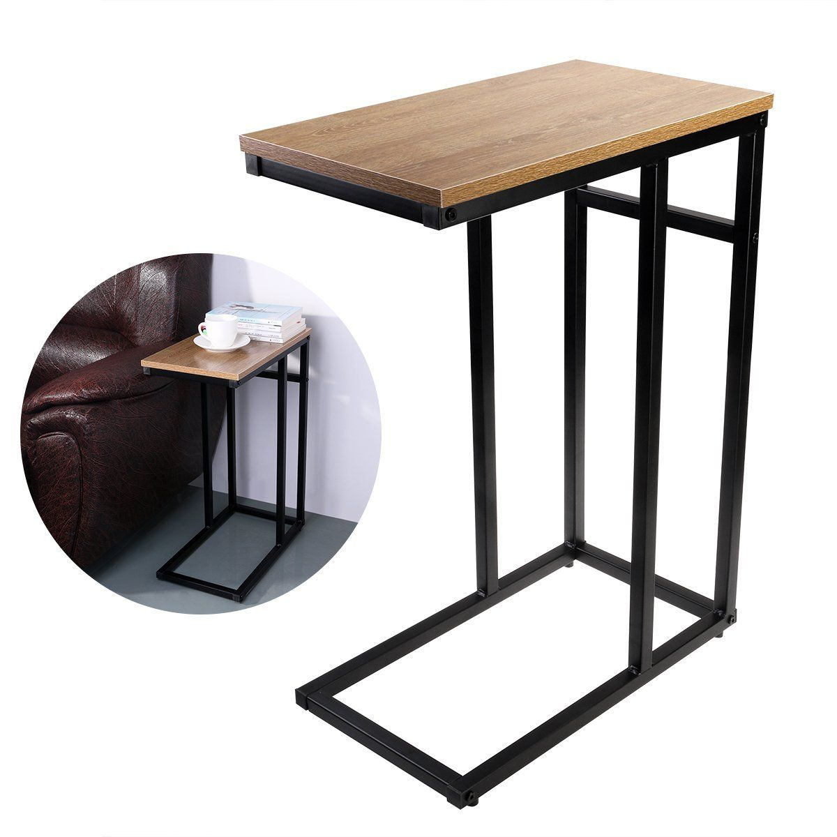 Amazon Com C Table Oulii Sofa Side Table With Wood Finish And Steel Construction Kitchen Amp Dining Sofa Side Table Coffee Table Side Table
