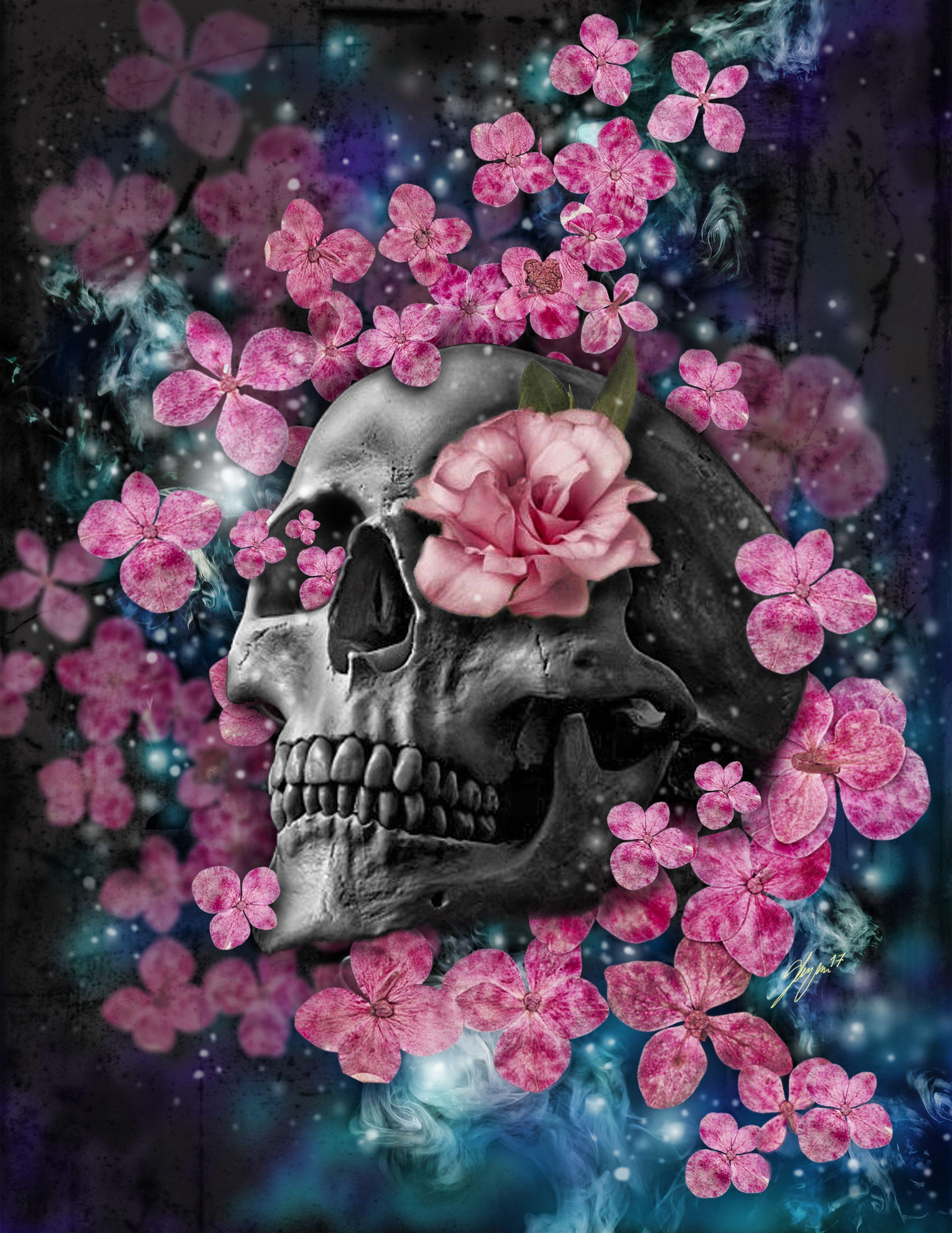 Skull Flowers Digitalart Skull Flowers Serglezama Skull