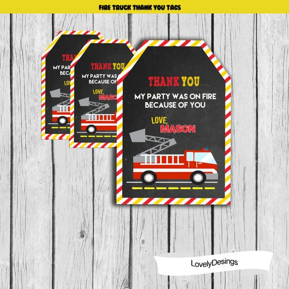 Fire Truck Birthday Party Fire Engine Thank You Tags Firefighter Birthday You Print or We Print Fire Truck Favor Tags Personalized