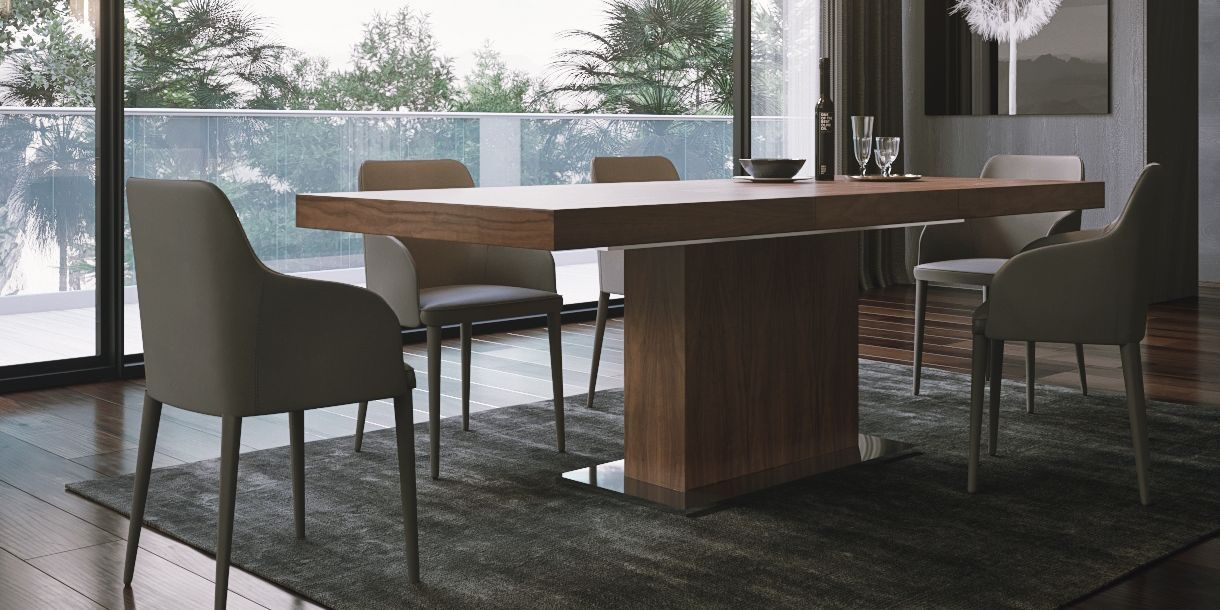 Palerma Extendable Dining Table Walnut Modern Dining Table Dining Chairs Dining