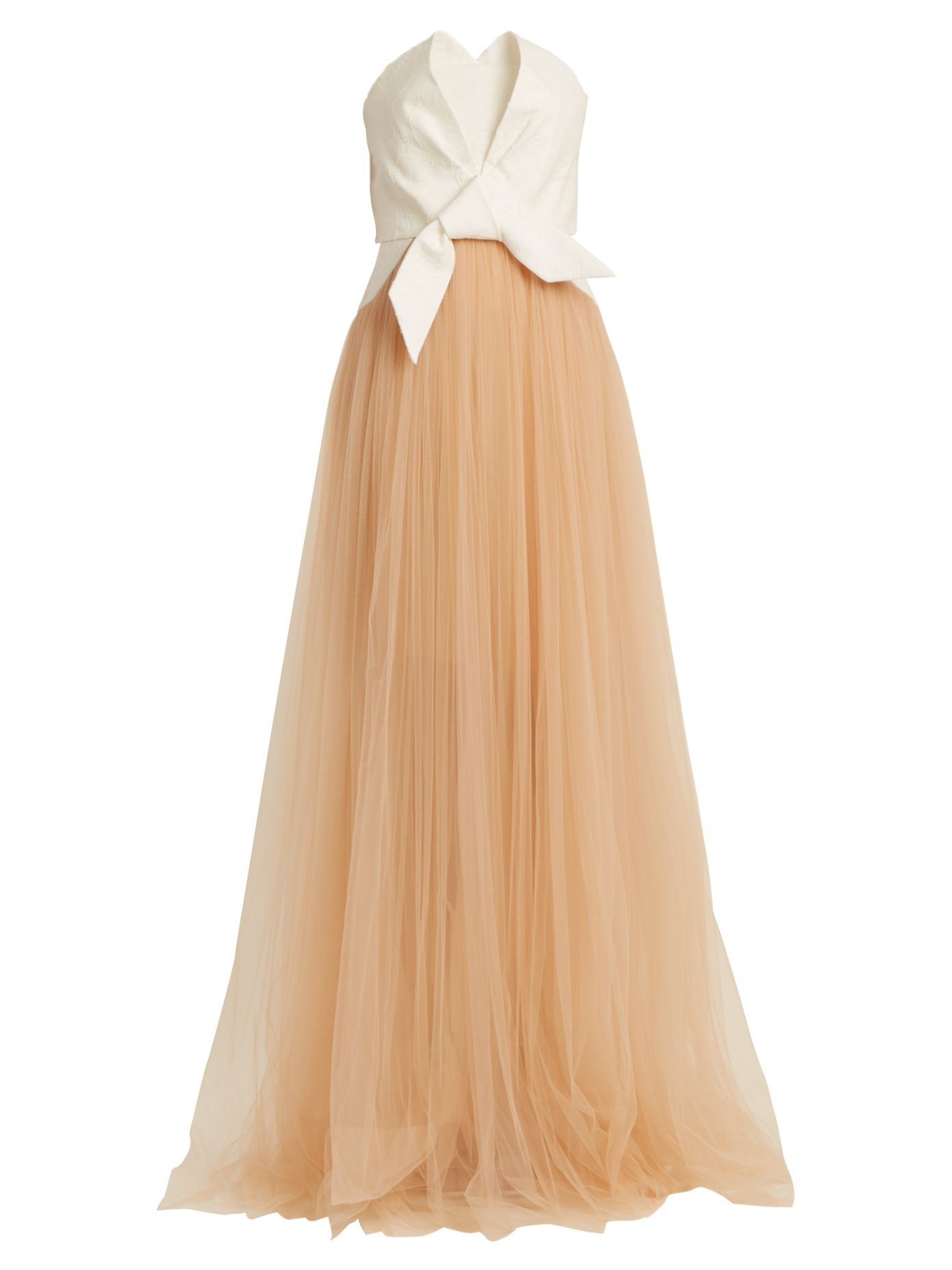 2387a8c9f02 DELPOZO Draped front strapless fil-coupé and tulle gown