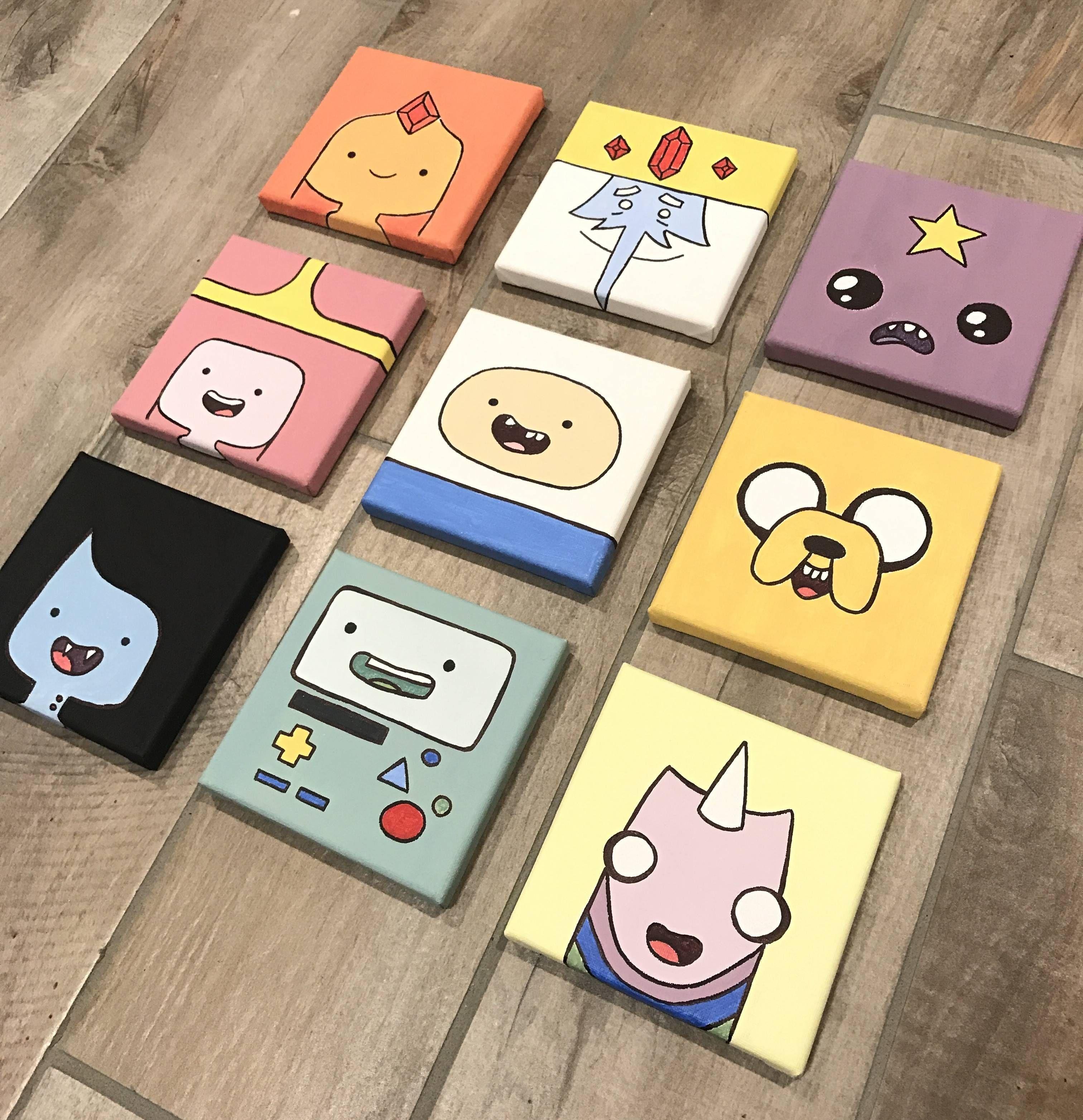 Adventure Time Mini Paintings In 2020 Diy Canvas Art Mini