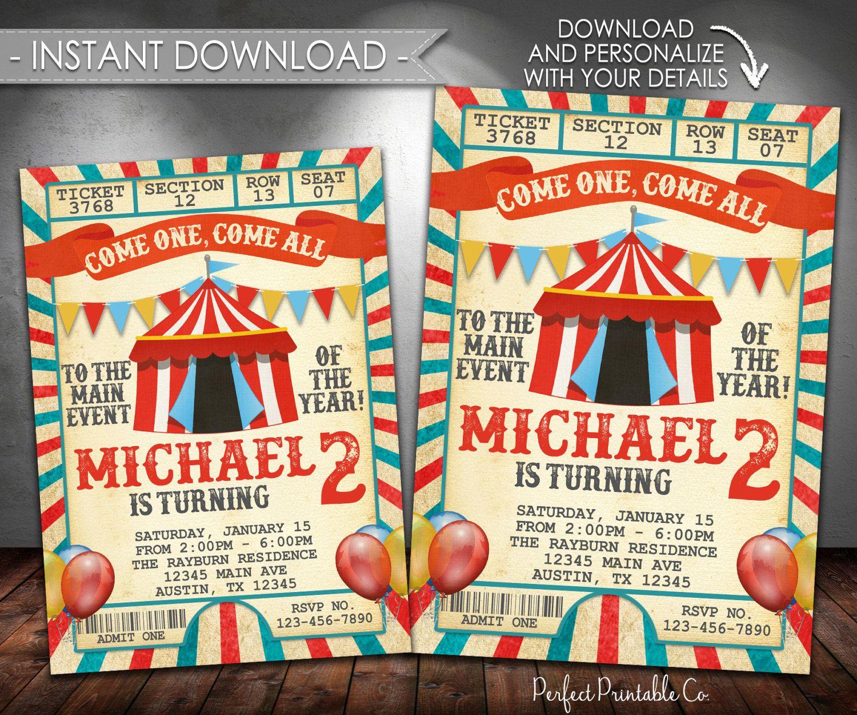 Vintage Carnival Invitation, Carnival Birthday Invitation, Circus ...