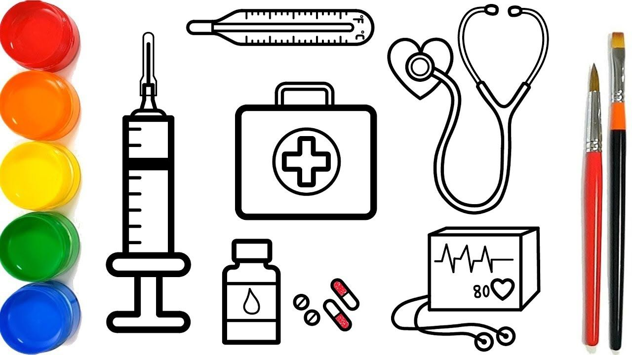 Glitter Medical Instruments Coloring Pages For Kids Peralatan Medis Ha Halaman Mewarnai Medis Peralatan Medis