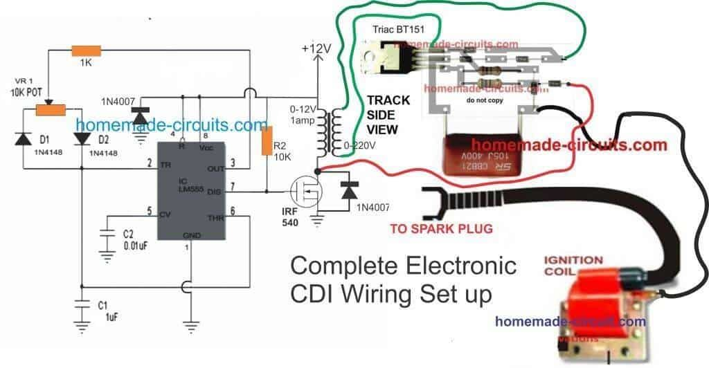 Electronic Cdi Circuit With 12v Battery Operation Electronic Circuit Design Circuit Projects Electronic Engineering