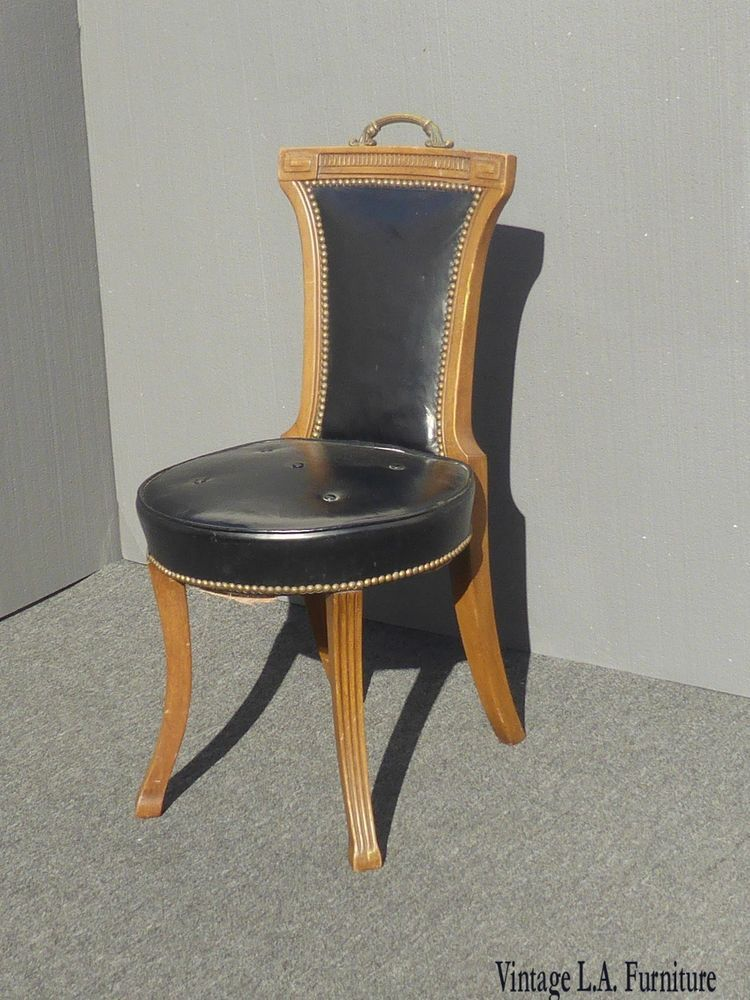Vintage Black Leather Accent Chair Made In Usa 64 By Hickory