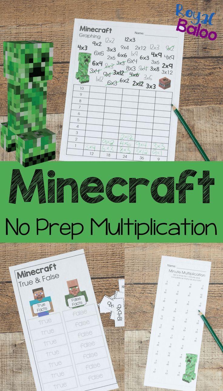 Minecraft No Prep Multiplication Pack for Fun Math Practice ...