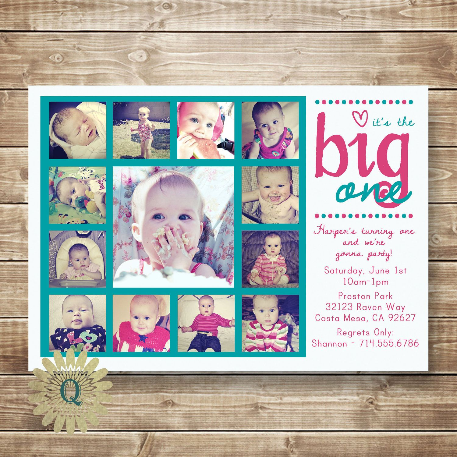 First Birthday Invitation with Monthly Pictures Printable DIY Card ...