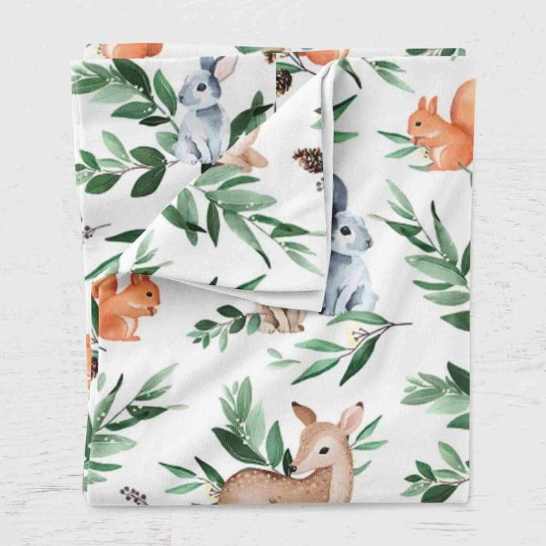 Woodland swaddle blanket ~ Newborn swaddle blanket ~ Gender neutral swaddle blanket ~ Bamboo muslin swaddle blanket ~ Swaddle set