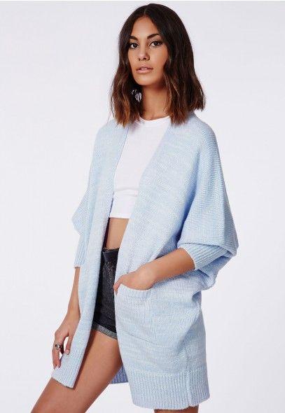 31cf3c0d9 Valene Oversize Batwing Slouch Cardigan Light Blue - Knitwear ...