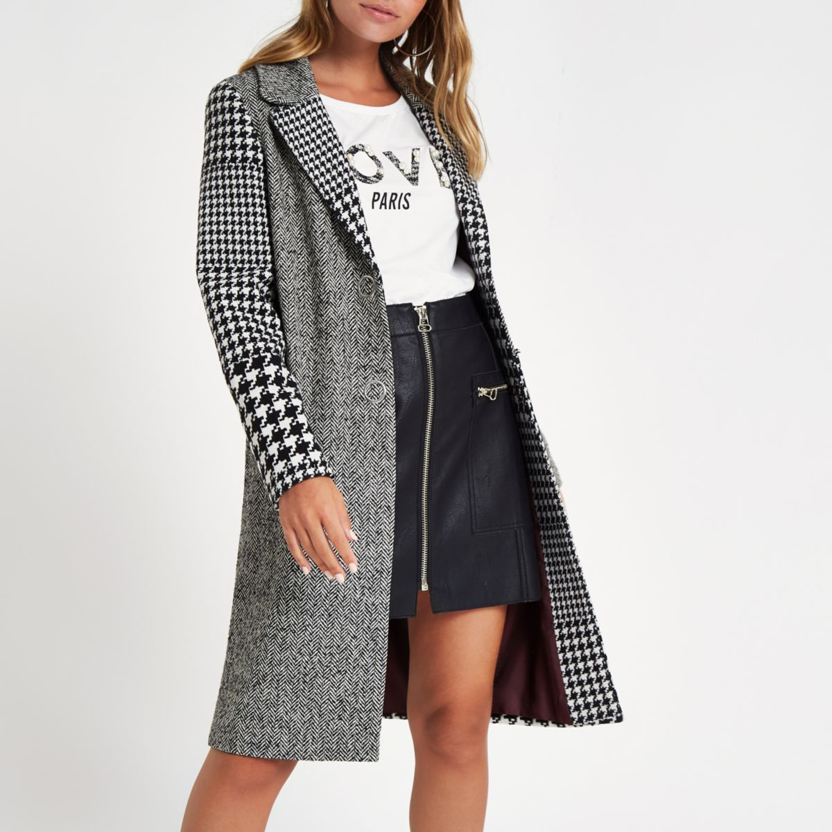 Petite grey check longline coat Introduce a style icon to