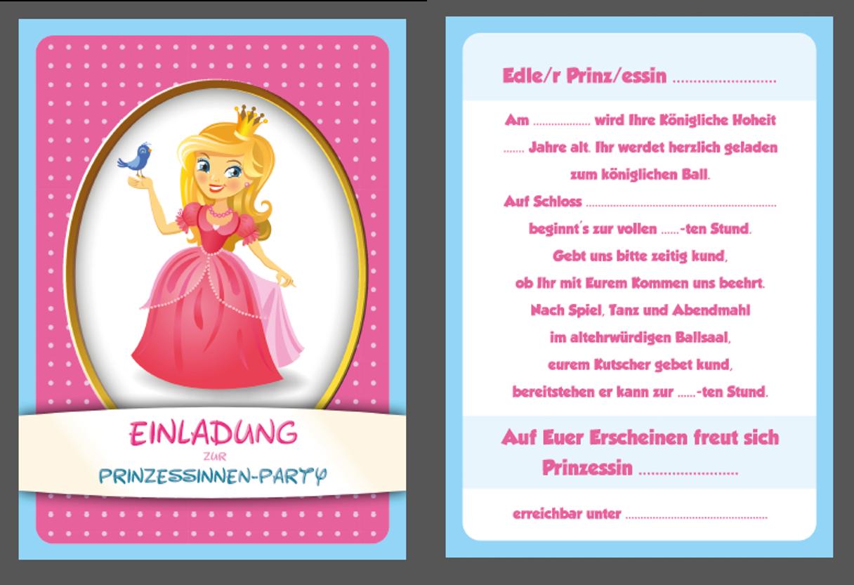 8 einladungskarten kindergeburtstag prinzessin geburtstag