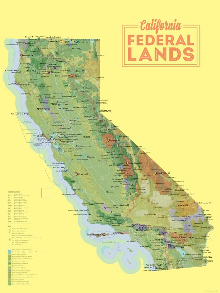 California Federal Lands Map 18x24 Poster in 2019 | Products | Map ...
