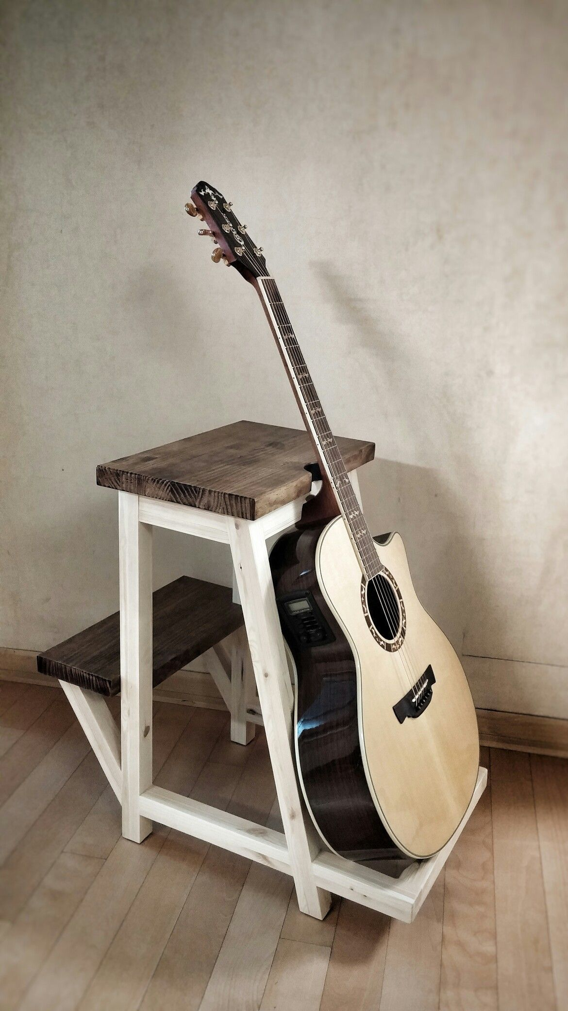 Guitar Stool Repurposedfurniturechair Wooden Guitar Stand Diy Guitar Stand Music Furniture
