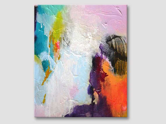 Original abstract painting, small artwork, acrylic painting, modern art, modern painting on textured canvas, neon bold colors, colorful