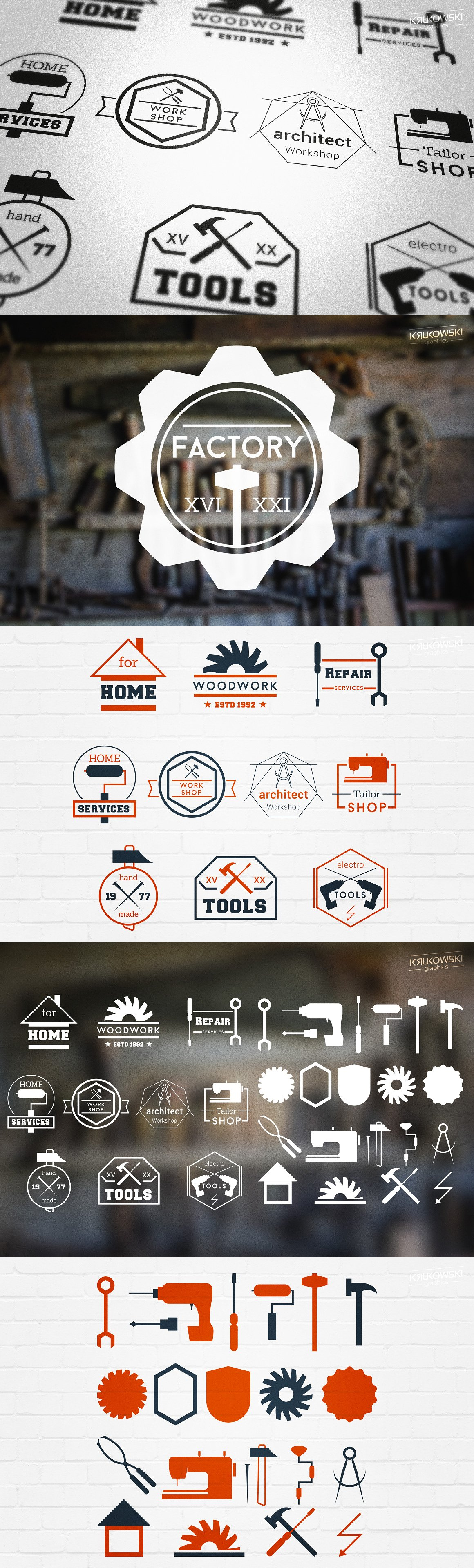 Workshop Useful Badges Logos Templates EPS, PSD | Logo Templates ...