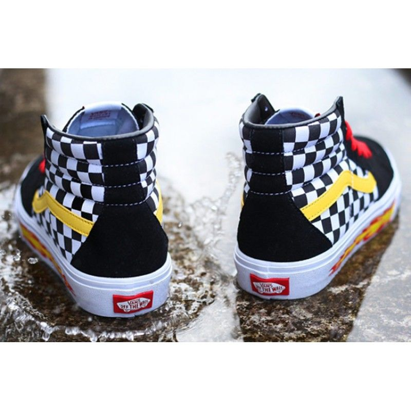 c06dbff763ca99 VANS THRASHER Checkerboard Flame Yellow Red Black Sk8 Hi Suede Skateboard  Shoes