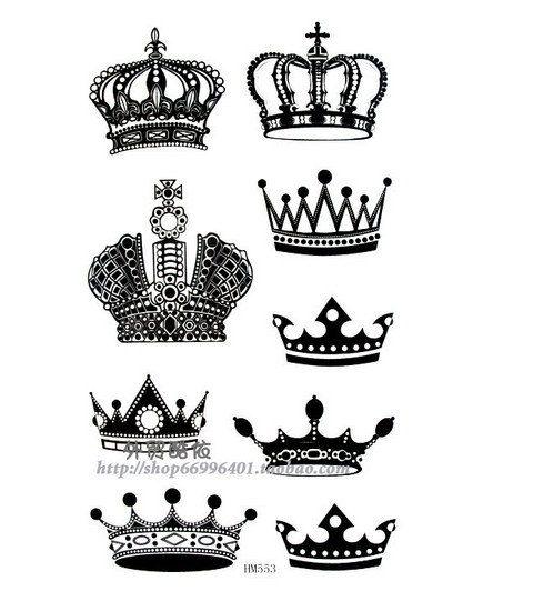 Crown Gold Black Temporary Tattoos For Men от Coolfashion4u