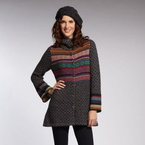 Mixed Knit Coat > Indigenous Designs | Fair Trade Clothing | Eco Fashion | Organic Clothing