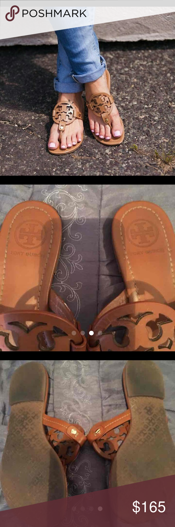 Authentic Tory Burch Miller sandals These are so cute with anything. Very in and in high demand. Especially this color. Condition is good with acception to tips have scuffing. Price is firm. Tory Burch Shoes Sandals
