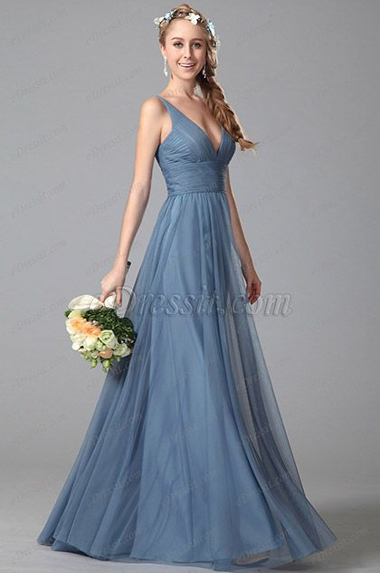 Sexy Plunging V Neck Sleeveless Bridesmaid Dresss Evening Dress (07151005)