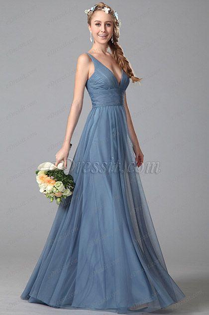 Sexy Plunging V Neck Sleeveless Bridesmaid Dresss Evening Dress (07151005)