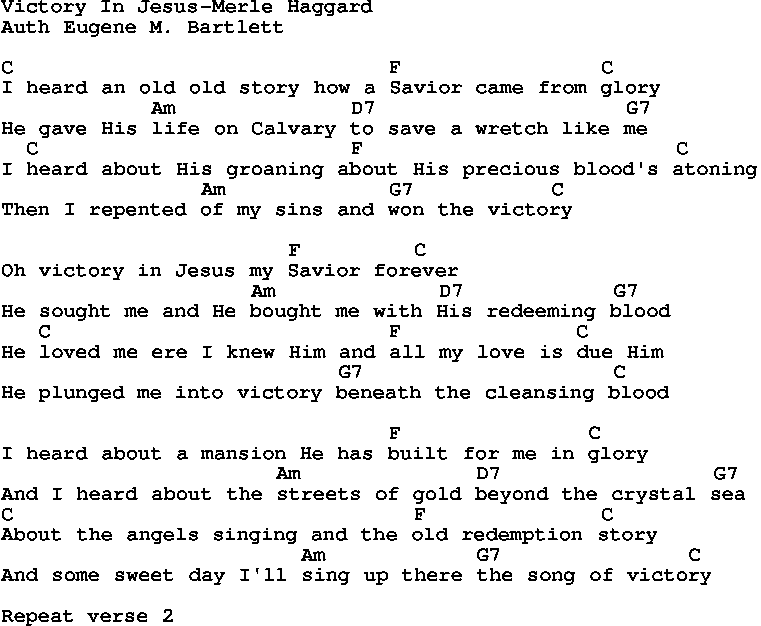 Country Southern And Bluegr Gospel Song Victory In Merle Haggard Lyrics Chords